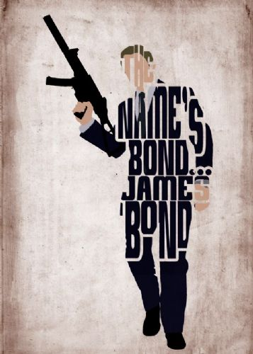 2010's Movie - JAMES BOND - QUANTUM OF WORDS canvas print - self adhesive poster - photo print